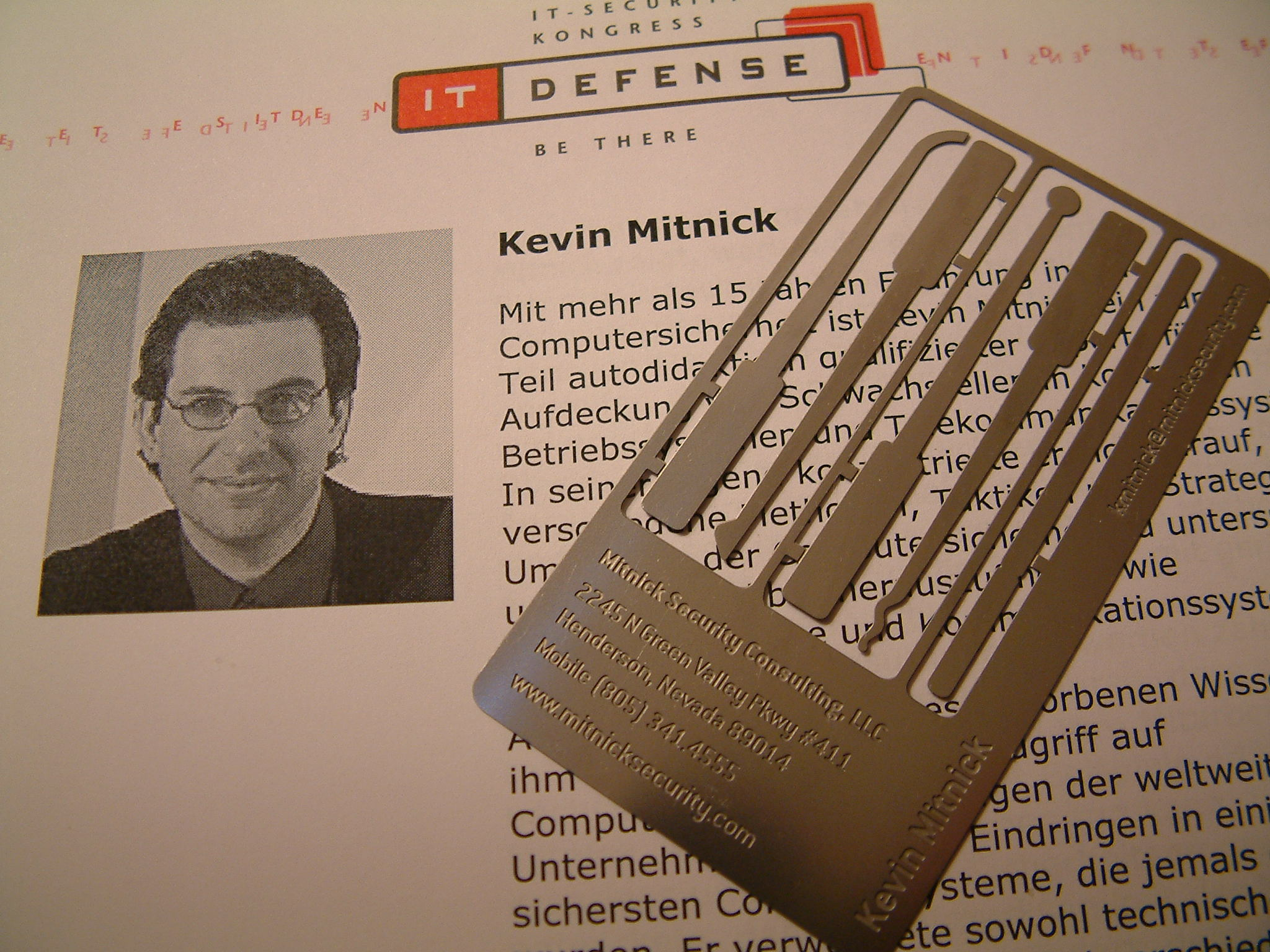 Tonight I Received The Coolest Business Card Ever Kevin Mitnick Will Be Speaking