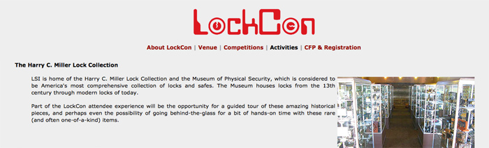 LockCon 2012, home of the world championships lockpicking, impressioning and safe combo manipulation